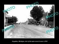 OLD LARGE HISTORIC PHOTO OF ENGADINE MICHIGAN, THE MAIN STREET & STORES 1930