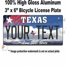 """CUSTOM PERSONALIZED TEXAS STATE BICYCLE LICENSE PLATE WITH TEXT 3"""" x 6"""" vanity"""