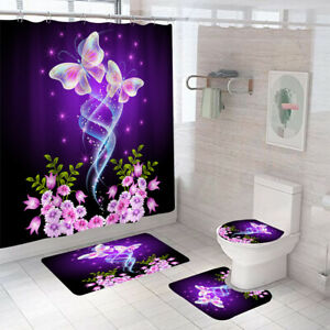 Butterfly Folwer Bathroom Rugs Set Shower Curtain Non-Slip Toilet Lid Cover Gift