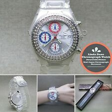Linda Dano Quartz Wrist Watch Japan SII Chronograph Austria Stone Rubber Band 5