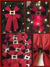 25 Red Velvet Buckle Bows Christmas Tree Decoration JOB LOT