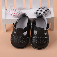 1Pair Handmade Fashion Black PU Shoes Clothes For 16 Doll Shoes inch Toy A8I0