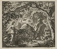 Johann Heinrich MEYER (1755 Zürich-1829), Bewaldete Landschaft mit Nymphe, Rad.