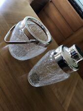 50er 60er Jahre Cocktail Set Shaker Eisbehälter Crackle Glass