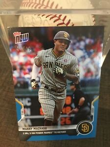 2021 Topps NOW BLUE PARALLEL #44/49 Padres Manny Machado 2 HRs, 5 RBI Powers Win