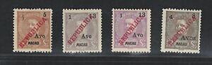 Portuguese Macau Stamps | 1913 | D. Carlos I Surcharge | MH #198-201 NGAI