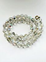 "Vintage Aurora Borealis Faceted Glass Single Strand 17"" Necklace"