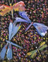 Gustave Bourgogne, Flowers and Dragonflies – Mid-20th-century gouache painting