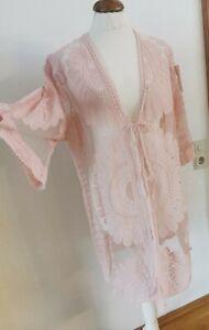 SALE Damen Kimono Spitze Häkel Cardigan Strandkleid Langbluse Überwurf Tül Cover