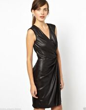 FRENCH CONNECTION Sz 0 NEW Fast Liquid Lacca Twist Black Wrap Dress Silky $158