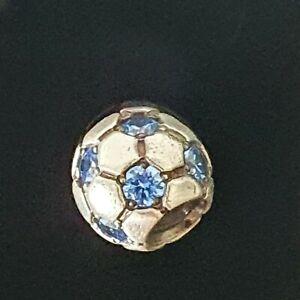 Pandora Blue Sparkling Football Soccer Ball CZ Silver Charm 790444 Free Post