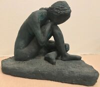 Vtg 70s Seated Nude Woman Ceramic Stoneware Sculpture Mid Century Modern Retro