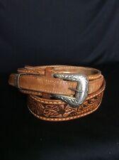 Vintage Justin Western Belt Cowboy Tooled Gold Tone Buckle Brown Camel Size 38
