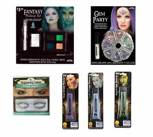 NEW Fantasy Gem Party Halloween Costume Makeup Kit Face Cream, Gems, Lashes