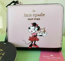 KATE SPADE MINNIE MOUSE L-ZIP BIFOLD WALLET:NWT DISNEY'S MINNIE MOUSE
