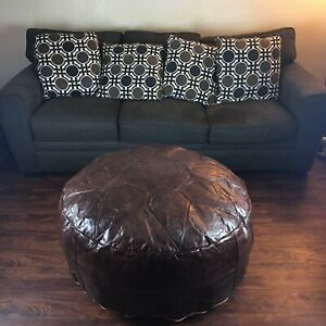 Moroccan Decor Furniture Giant Leather Pouf Ottoman Cocktail Table Solid Brown