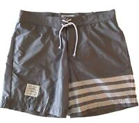 NEW, THOM BROWNE MEN'S GRAY SWIM SHORTS, 5, $565