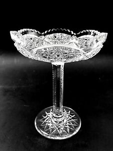 American Brilliant Period Cut Crystal Glass Chalice Fans /Cartouche-- Meek Glass