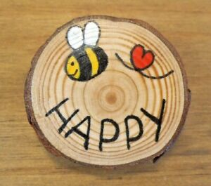 Rustic hand painted wooden discs. Bee happy with sunflower mini picture
