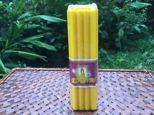 Thai Yellow Candle Light 18 cm. For Worship Buddha Ritual Buddhist Monk Pray