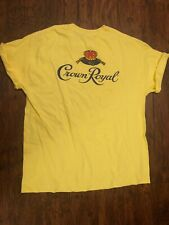 Size L Vintage Crown Royal Rum Hanes Yellow Graphic Tee Shirt Novelty Print
