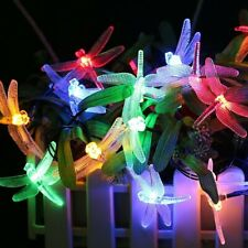 Outdoor Waterproof Solar String Lights 20 LED Dragonfly Lamp Fairy Party Bulbs