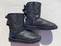 UGG Australia Baily Bow Navy Glitter Ankle Boot Size 7