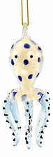 Glass Coastal Spotted Octopus Christmas Ornament Glow In Dark 3.5 Inch