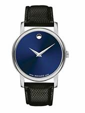 Movado Museum Blue Dial Black Leather Strap Men's Swiss Watch