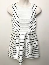 MARCS black white stripe with lace detail fitted waist dress sz 14 sleeveless