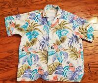 Vintage Barefoot In Paradise Men's Hawaiian Tropical Shirt Parrots Print XL