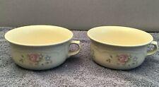 "Vintage Pfaltzgraff USA Tea Rose Handled Soup Bowls (Set of 2)  6"" x 3"""