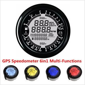 Universal 85mm Digital GPS Speedometer Tachometer 6in1 MultiFunction Gauge Meter