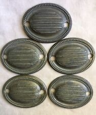 "19thc Set of 5 HEPPLEWHITE LINES & BEADS Brass Drawer Pull Backplates 2 1/2"" w"