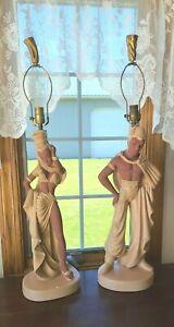 Vintage Reglor Of California Mid Century NUBIAN DANCERS Chalkware Table Lamps