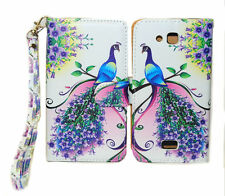 Purple & Pink Peacock Design Wallet Leather Case Kyocera Hydro Wave C6740