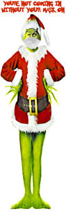 LIFE SIZE THE GRINCH AS SANTA CLAUS FATHER CHRISTMAS FACE MASK CANVAS POSTER
