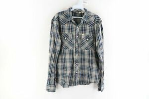 Vintage Salt Valley Western Mens Medium Double Pocket Pearl Snap Button Shirt