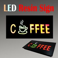 "Led Resin Window Business Sign Coffee Snack Non Neon Display 17"" x 9"" Tea"