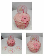 PINK RIBBON HEART  x24 Fairy Cup Cake Stand up Toppers  Edible pre-cut