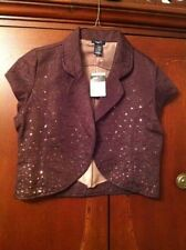 RUE 21 Brown Sequin  BOLERO Jacket Shrug  TOP L Mother Of The Bride NeW