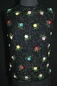 EXCEPTIONAL QUALITY VINTAGE 1960'S BLACK WOOL BEADED SEQUINNED SWEATER SZ 36-38