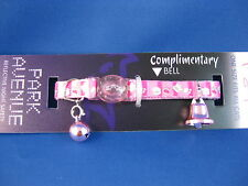 Cat Collar - Reflective with Safety Clip - Pink with Paw Prints - Pink Bell
