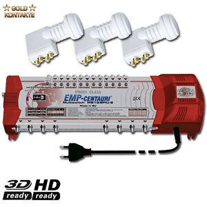 EMP CENTAURI Profi Line Digitaler SAT Miltischalter 13/8 + 3x Quattro LNB