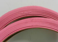 New pair of Duro 20 x 1.95 ISO 406 all pink bicycle tires tubes rim strips