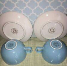 Starbucks At Home Collection  2 Blue Cup & Saucer Sets 2004- EUC
