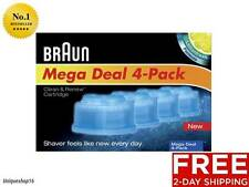 NEW BRAUN SHAVER CLEAN AND RENEW CARTRIDGE REFILLS 4 COUNT FREE 2-DAY SHIPPING!