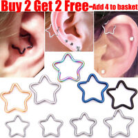Surgical Steel Star Daith Ring Helix Ring Cartilage Tragus Ring Hoop Earring