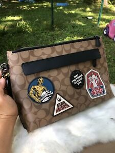 NWT Star Wars X Coach F88114 Carryall Pouch In Signature Canvas Patches Gift Lim