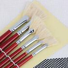 6pcs Pure Artist Fan Paint Brush Hog Oil Bristle Acrylic For Watercolor Painting